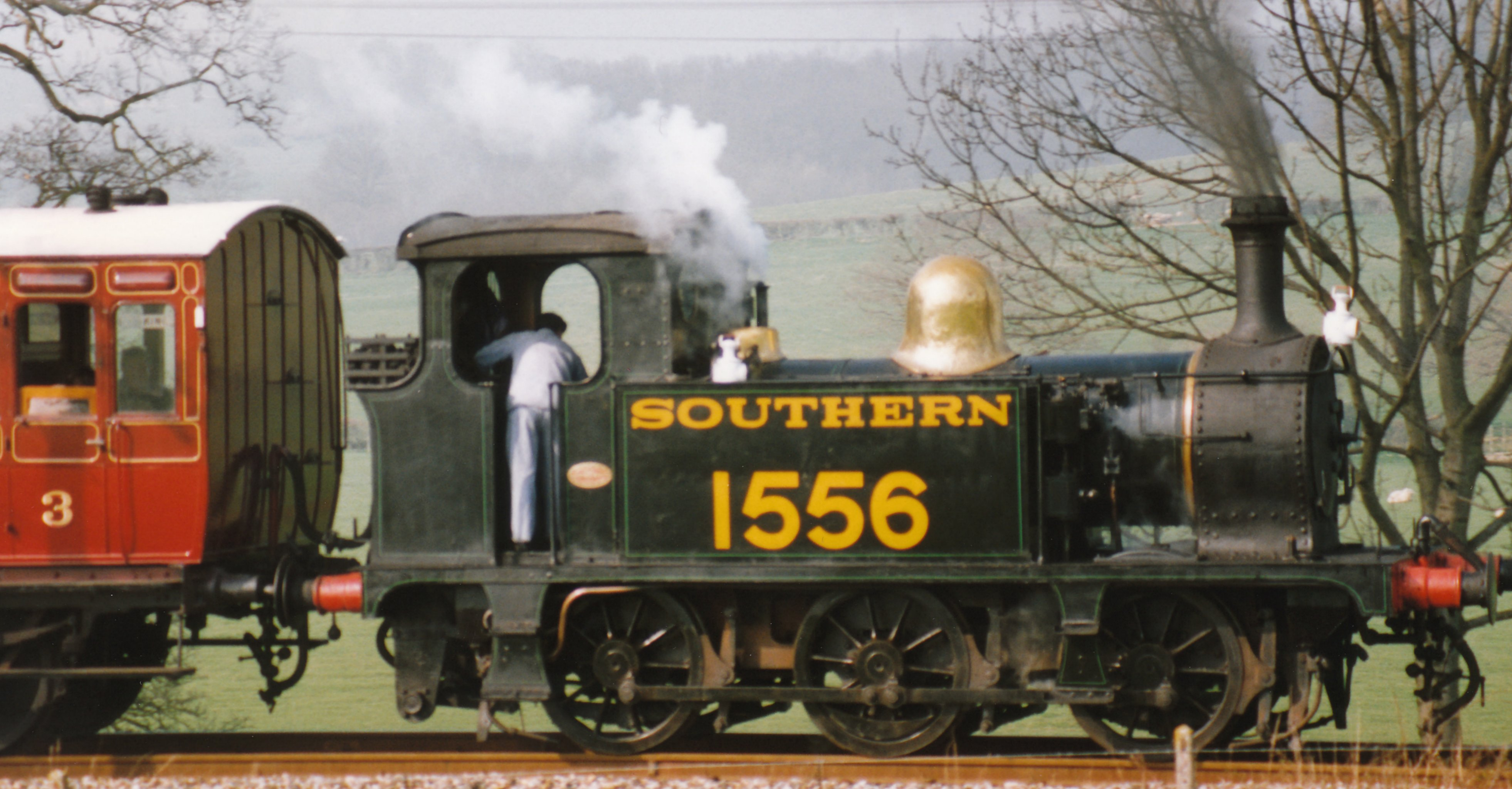 1997 – Tenterden Bank – Ex-SECR Southern Railway P class 1556 (black and  lined green)