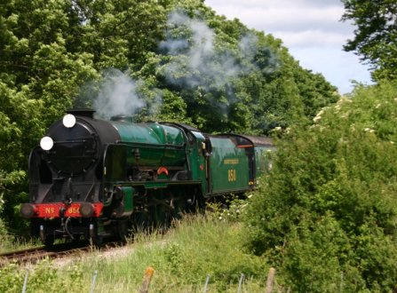 Watercress Railway - Approaching Alresford - 850 Lord Nelson 17 June 2012