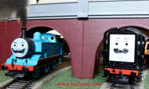 Locoyard Movember 2013 - Thomas the Tank Engine and Devious Diesel (under arches)