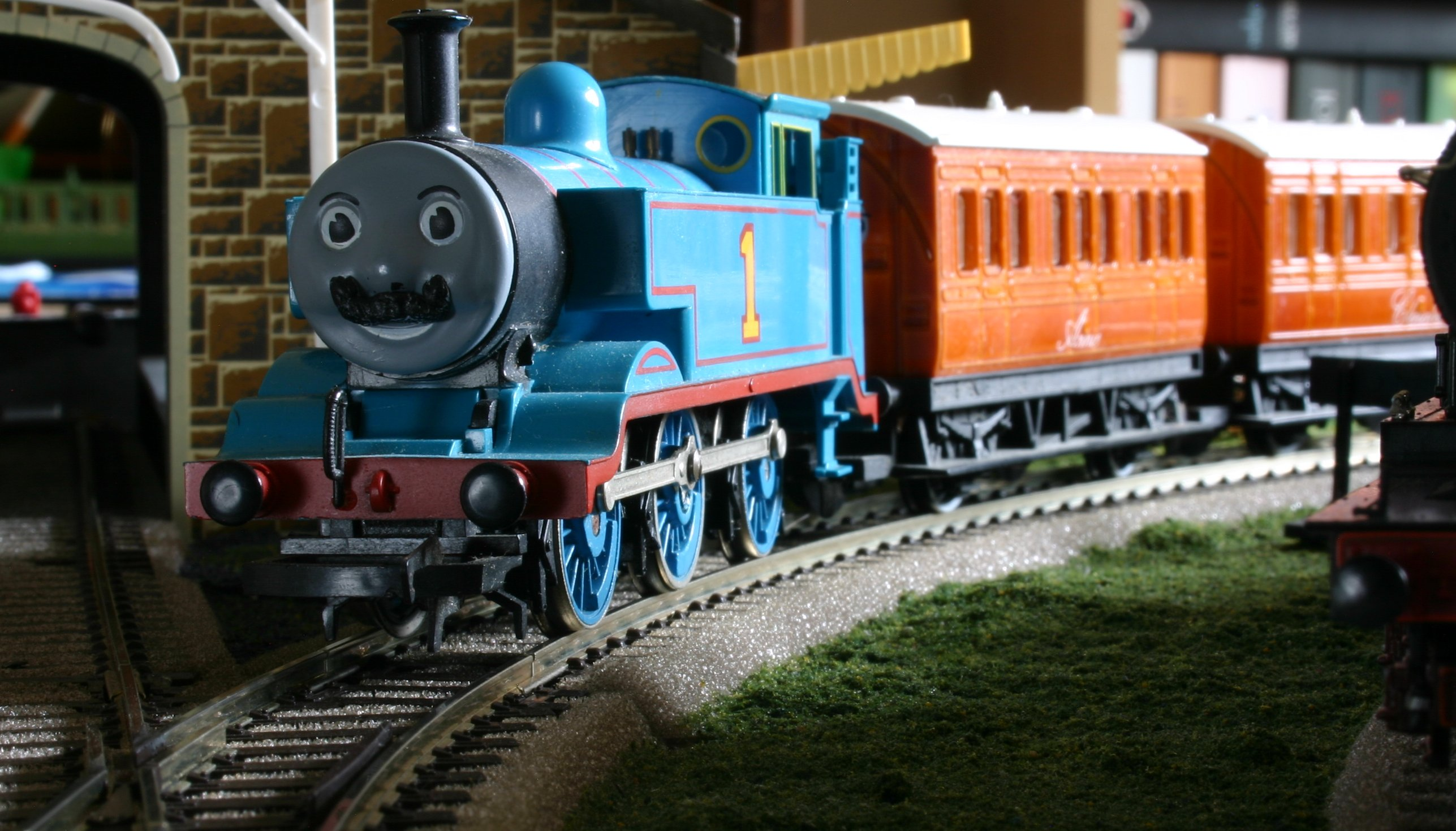 Thomas the tank engine movember at locoyard with annie and clarabel
