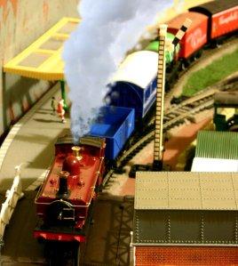 Locoyard Christmas Return Train to the North Pole waiting for Santa to board steam