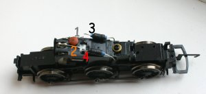Hornby - standard 0-6-0 chassis type 7 motor - DCC fitting guide - class 08, J13, J52, J83, Jinty, GWR 2721, 57xx, Duck, Diesel, LBSCR E2, Thomas the Tank Engine - Step 6