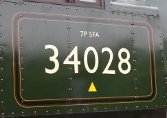 2013 - Swanage Railway - Norden - Rebuilt West Country class - 34028 Eddystone (number)