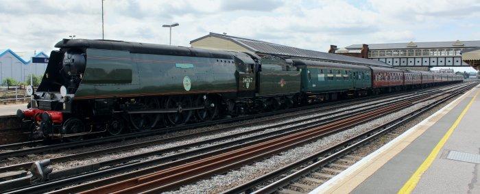 2013 - Mainline Bath and Bristol - Eastleigh - UnrebuiltBattle of Britain class - 34067 Tangmere
