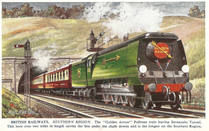 1950's British Railways Southern Region - Golden Arrow Postcard - Nick P Littlewood
