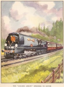 Nick Littlewood The Book of Railways by Arthur Groom 1950 - unrebuilt Merchant Navy - 35001 Channel Packet (speeding to Dover)