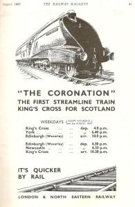 LNER advert for the 'Coronation' service [Railway Magazine, Aug 1937]