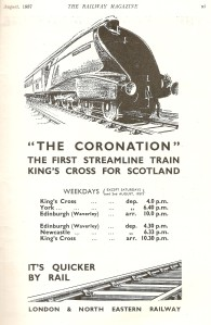 LNER advert for the 'Coronation' service [Railway Magazine, Aug 1937]