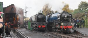 Watercress Line 2013 Autumn Gala - 60163 Tornado & 34046 Braunton in the pouring rain