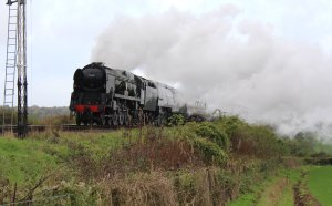 2013 Watercress Line Autumn Steam Spectacular - Approaching Ropley - West Country class - 34007 Wadebridge & 34046 Braunton