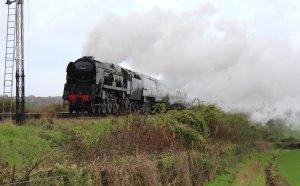 2013 Watercress Line Autumn Steam Spectacular - Approaching Ropley - West Country class - 34007 Wadebridge & 34046 Braunton