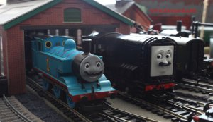 Locoyard Thomas the Tank Engine & Friends Movember 2013 - Devious Diesel (on shed)