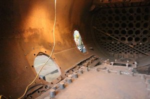 Merchant Navy class - 35005 Canadian Pacific -  Eastleigh Dec 2013 - (inside smokebox)