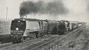 Merchant Navy 35005 Canadian Pacific hauling the down Atlantic Coast Express passes an unknown S15 4-6-0 on freight near Basingstoke - https://www.flickr.com/photos/64518788@N05/