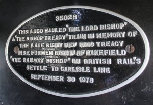2014 - Watercress Line - Spring Steam Gala - Alresford - Merchant Navy Class - 35028 Clan Line (Eric Treacy plaque in cab)