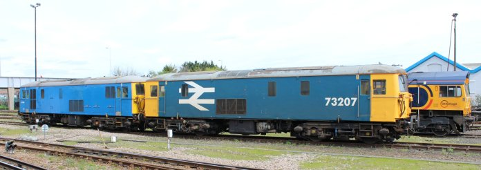 Eastleigh - April 2014 - Class 73 73207 & 73109 (GB Railfreight)