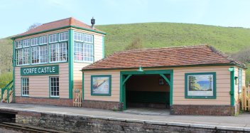 2014 - Swanage Railway - Corfe Castle - signal box and waiting room