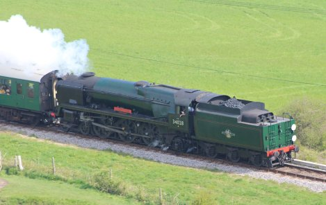 2014 - Swanage Railway - Corfe Castle - Rebuilt West Country class - 34028 Eddystone