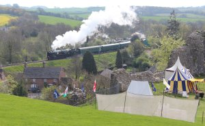 Corfe Castle - National Trust - Swanage Railway (rebuilt West Country class 34028 Eddystone)