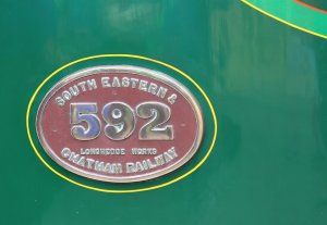 2014 Bluebell Railway - East Grinstead - SECR C class 592 numberplate