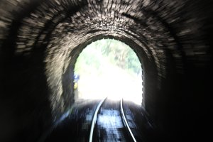 2014 Paignton and Dartmouth Steam Railway - View from Pullman Devon Belle Observation Car Greenway Tunnel