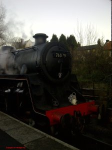 North Yorkshire Moors Railway Grosmont December  2014 BR Standard 4MT 2-6-0 76079 early crest Copyright UK Heritage Hub
