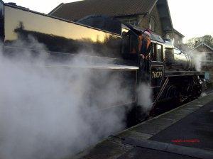 North Yorkshire Moors Railway Grosmont December  2014 BR Standard 4MT 2-6-0 76079 early crest Copyright UK Heritage Hub