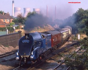 4468 Mallard in steam at Water Orton 4th October 1986