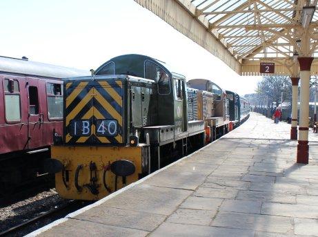 2015 - East Lancashire Railway Ramsbottom - class 03 D2062 Class 14 diesel-hydraulic locomotive D9531 and D9531 Ernest triple header