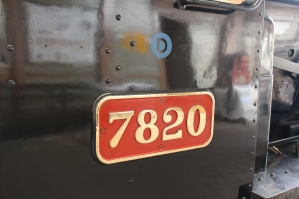 Paignton and Dartmouth Railway Kingswear July 2015 BR unlined black 7820 Dinmore Manor (03) numberplate