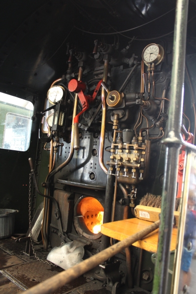 Paignton and Dartmouth Railway Kingswear July 2015 BR unlined black 7820 Dinmore Manor (04) cab