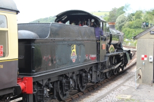 Paignton and Dartmouth Railway Kingswear July 2015 BR unlined black 7820 Dinmore Manor (12)