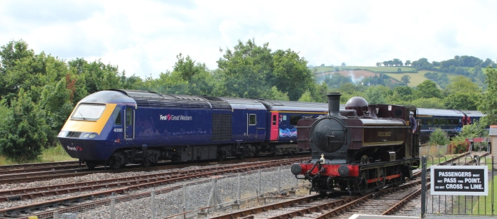 South Devon Railway Totnes Littlehempston July 2015 - 57xx class Pannier Tank London Transport L.92 and First Great Western HST 43180