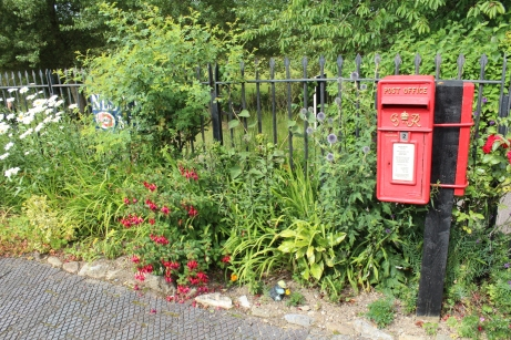 South Devon Railway Totnes Littlehempston July 2015 - post box and gardens