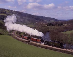 Llangollen Railway - 1994 60103 Flying Scotsman with freight by late Basil Roberts