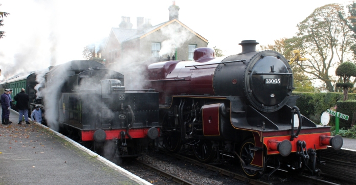Watercress Line Autumn Steam Gala 24 October 2015 - LMS Hughes Crab 13065 and Ivatt 2MT 2-6-0 46521