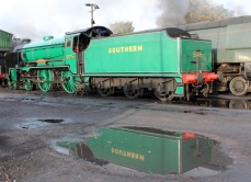 Watercress Line Autumn Steam Gala 24 October 2015 - Southern Railway Schools class V 925 Cheltenham reflection