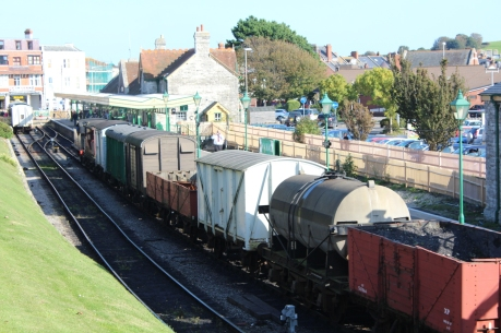 Swanage Railway September 2015 (03) Ex-LSWR M7 class 30053 demonstration goods train