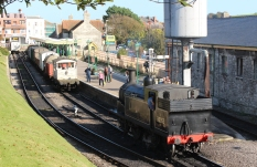 Swanage Railway September 2015 (06) Ex-LSWR M7 class 30053 demonstration goods train