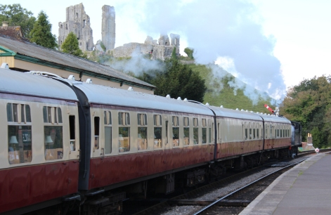Swanage Railway September 2015 (13) Corfe Castle Ex-LSWR M7 class 30053 The Dorset Man