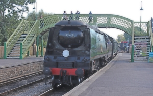 Swanage Railway September 2015 (15) Corfe Castle Bulleid unrebuilt West Country Class 34070 Manston