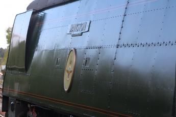 Swanage Railway September 2015 (16) Corfe Castle Bulleid unrebuilt West Country Class 34070 Manston