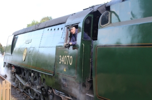Swanage Railway September 2015 (19) Corfe Castle Bulleid unrebuilt West Country Class 34070 Manston