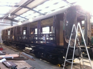 CR31 Bulleid coach 1456 stripped down to bare framework
