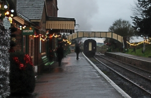 Watercress Line Ropley 2015 Christmas Decorations - departing train