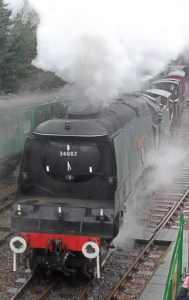Watercress Line Spring Steam Gala 2016 (20) Bulleid unrebuilt West Country class 34007 Wadebridge demonstration goods freight Alresford