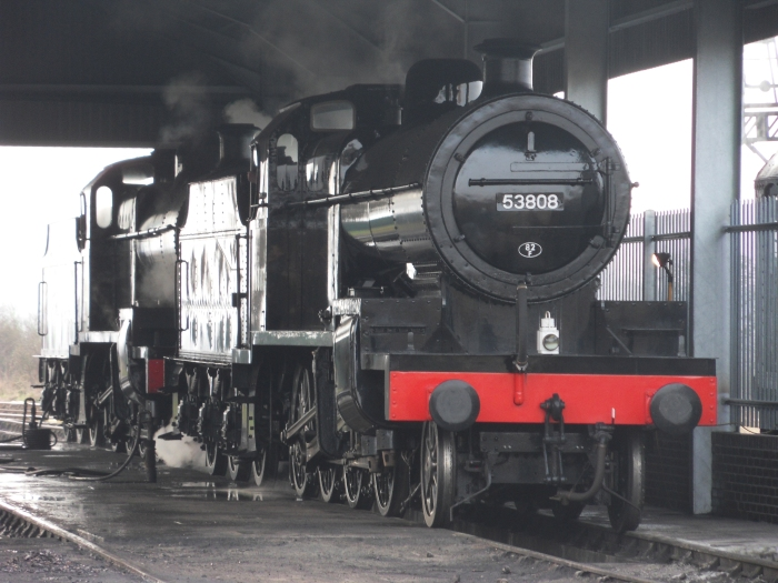 S&D 7Fs 53808 and 53809 on shed at Bishops Lydeard