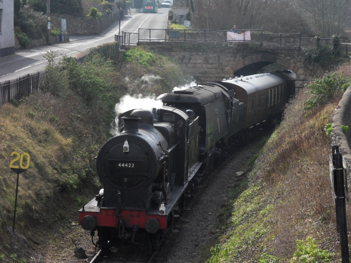 LMS 4F 44422 pilots SR unrebuilt Bulleid West Country 34070 Manston approaching Watchet