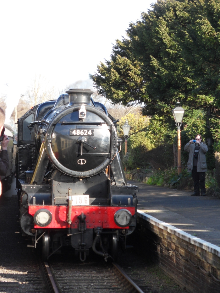 LMS 8F 48624 arrives in sunshine at Blue Anchor