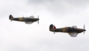 Shoreham Airshow 2014 (4) Spitfire N3200 and Hurricane R4118